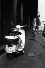 Lambretta, Milan (www.daevans.co.uk - Street Photography Workshops i) Tags: street leica blackandwhite italy man milan lambretta cleaner sweeper