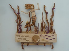 Mermaid 2014 (Wanda Sowry) Tags: ocean wood sea fish colour art reeds giant toy handle moving wooden movement ship natural handmade parts cam tail craft squid gift kelp present redhair cog mechanism automata automaton kracken rmaid