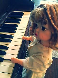 My Nana's childhood doll, Terri Lee playing the piano