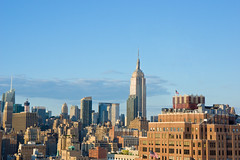 NYC View (A7design1) Tags: nyc blue sky usa sun newyork america one office cityscape view symbol manhattan flag nation sunny landmark tourist clear national american empirestatebuilding midday