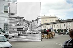 Ausztria, Salzburg, Mozartplatz, Mozart szobor, a Kaigasse fell nzve fortepan_57482 (Kernyi Zoltn) Tags: salzburg austria retro mozart 1960 szobor fortepan lovaskocsi