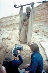 Peter Diamond gesturing for the camera (Tom Simpson) Tags: film vintage movie starwars behindthescenes tuskenraider peterdiamond