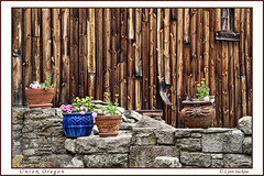 Unique side yard (walla2chick) Tags: wood flowers usa stone wall oregon or union pots topazadjust 0889ta