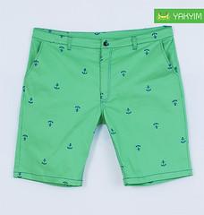 กางเกงสามส่วนแฟชั่นผู้ชายอ้วนไซส์ใหญ่สีเขียวลายสมอ หน้า