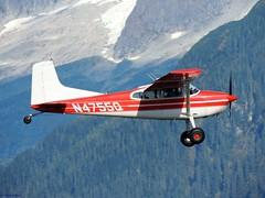 1967 Cessna A185E Skywagon [N4755Q] (B737Seattle) Tags: red white mountain alaska plane airplane airport nikon aircraft juneau international 1967 coolpix timothy cessna 185 kalweit skywagon p510 a185e pajn n4755q b737seattle