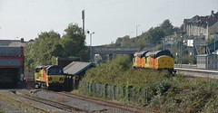 Colas taking over Barry. 30/9/14 (Nick Wilcock) Tags: barry 708 colas class37 37175 37219 70803 class70 colasrail colasrailfreight barrytouristrailway