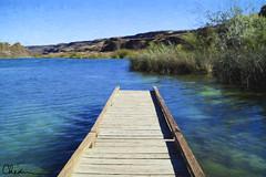 Dock of the Bay (charhedman) Tags: trees mountains water grass pier dock easternwashington deeplake sunlakedryfalls
