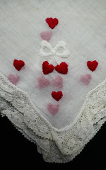 Some hearts are hidden (Monceau) Tags: heart hearts cotton handkerchief lace vintage red bow layered hidden obscured corner macro dainty sentimental macromondays