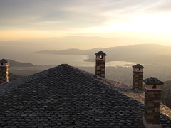 Volos city view from Mt. Pilion. (alekathom) Tags: mtpilion volos greece outdoor view pagasitikos stoneroof chimney