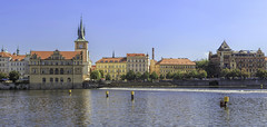 Panoramic view from the River Vltava on Prague (dorrisd/ unable to comment) Tags: praag tsjechië cz rivervltava moldau charlesbridge staréměsto prague czechrepublic europe vltava river panoramic city scenic riverside architecture baroque colorful colors buildings barriers summer daytime unescoworldheritagesite staremesto stad tjechië tjechisch rivier stadsgezicht kleur architectuur sunny blueskies cityscape scenery sightseeing attraction tourism touristy popular citytrips european country holiday travels imposing architectural details heritage history mienekeandewegvanrijn mieneke andeweg dorrisd