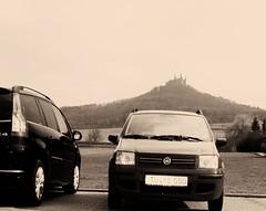 Fiat Panda II - Citroen C4 - 1929 film filters --  Burg Hohenzollern Hechingen Germany Prussian Dynasty (eagle1effi) Tags: c4picasso c4 grandc4 panda typ169 pandaii burghohenzollern sepiaart blackwhitephotos artexpression eagle1effi hechingen mk2 markii pedia photopedia fotopedia flickrpedia
