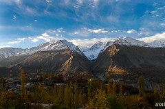 hunza in blue n yellows (umme muhammad rana) Tags: pakistan hunza morninglights mountains autumn sky baltistan gilgit leaves