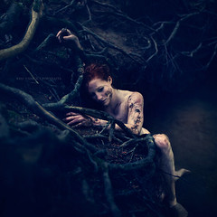 In the light of Spirit (kim.yanick) Tags: trees portrait water photomanipulation photoshop river nude death sadness ginger artwork moody darkness mud emotion artistic decay fineart alien roots evil surreal creepy redhead rebirth redhair darkside darkarts