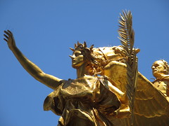 Civil War Statue General Sherman on Horseback with Angel 1344 (Brechtbug) Tags: street plaza new york city nyc roof cactus building green art yellow statue architecture angel bronze gold hotel leaf wings construction hands war pin afternoon shadows general near top flag fingers profile civil american underneath needles avenue 5th cushion sherman 59th the 06152014