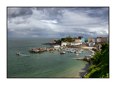 Tenby Harbour (Explored 20/07/2014) (tina777) Tags: trees houses sea people beach monument statue wales boats pier sand harbour seagull jetty hill mooring colourful archway pembrokeshire tenby topaz moored