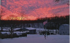Gail Litzsinger - Daybreak on West Piney Creek (Missouri Agriculture) Tags: tractor barn flag pasture american hay bales