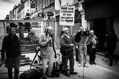 Close Harmony Terrorists (Ian Livesey) Tags: uk england sign religious singing god guitar religion jesus streetphotography singer terrorists lancaster