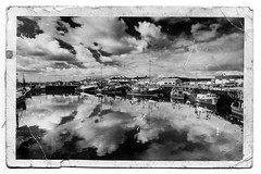 Once Upon A Cloudy Day (RonnieLMills One Million views!! Thank you all :)) Tags: county old ireland blackandwhite bw reflections boats mono photo fishing nikon day cloudy harbour down northern effect autofocus portavogie