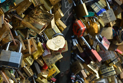 Locked in Love (CA Phoenix) Tags: bridge paris france love message locks forever keyhole padlock