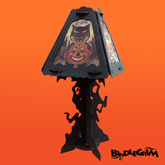Haunted Tree Lamp Base (bindlegrim) Tags: lighting holiday tree halloween face silhouette modern paper dead design craft spooky trunk lantern limbs decor lampshade crooked candlestick olde vintagestyle spooklights