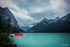 Lake Louise (Carrie Cole Photography) Tags: longexposure lake canada mountains tourism water landscape rockies boats scenic canoe glacier canoes banff rockymountains lakelouise boathouse banffnationalpark canadianrockies redcanoe victoriaglacier redcanoes sonynex7 carriecole carriecolephotography