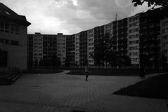 Kiev 4 + Jupiter-12 - Housing Estate Komrov (Kojotisko) Tags: street city people bw streets person czech streetphotography brno cc creativecommons czechrepublic streetphoto jupiter12 persons kiev4 jupiter123528