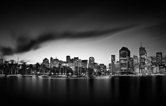 The River City (james_lovas) Tags: city sunset blackandwhite bw water clouds canon river dark landscape boats lights long exposure cloudy sony australia brisbane queensland bnw reflextion luminosity a7r