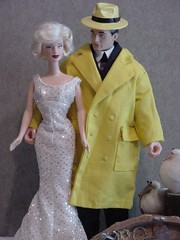 Barbie and Ken on Mystery Cruise (larry_boy17) Tags: lana hat yellow marilyn trek star doll dolls ooak coat dick ken barbie tracy trench trenchcoat hollywood blonde monroe turner
