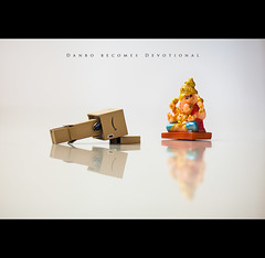 Danbo becomes devotional (sasiharshav) Tags: stilllife canon toy toys still amazon toystory 14 85mm sigma ganesh hyderabad 52 danbo 52weeks toyphotography 85mm14 52weekproject danboard amazondanbo