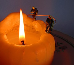 Burning the Candle at Both Ends (amanda_shirlow) Tags: macro miniature candle small mini humour micro firemen littlepeople tinypeople hoscale preiser railwayfigure
