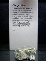 University Museum Chrysotile Asbestos Specimen Exhibit (Asbestorama) Tags: rock stone university display exhibit mining safety mineral geology he serpentine asbestos minerology chrysotile fibrous amiante asbestiform