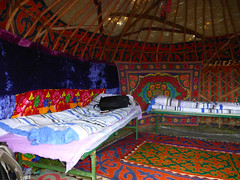 Yurt Interior. (threejumps) Tags: colour beauty carpet bed colours beds interior tent yurt rugs kyrgyzstan tapestry lifesrichtapestry sonkul mysleepingbag