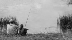 Fishing ... (J.R. Dominy) Tags: people bw white black canon blackwhite fishing explore jerseypix