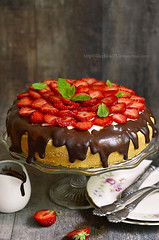 Cake with sour cream and strawberry. (lilechka75) Tags: red summer food cake fruit pie recipe table wooden leaf juicy yummy strawberry berry dish sweet chocolate background rustic cream mint vegetable gourmet delicious biscuit homemade glaze slice pastry dairy yogurt cocoa product sour tart mousse ripe torte parfait whipped cacao