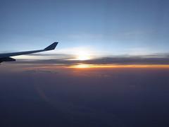 Setting sun (prondis_in_kenya) Tags: kenya nairobi hotdryseason lufthansa airplane aeroplane sunset sky cloud wing dusk river nile