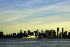 Vancouver - the city at sunset (leuntje) Tags: vancouver downtown burrardinlet bc canada britishcolumbia canadaplace sunset cruiseterminal