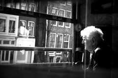 Another black and with photo with an old man in a window (Cristian Ştefănescu) Tags: old man window coffee amsterdam bar pub alt fenster mann kanal batran gracht vitrina fav25 fereastra
