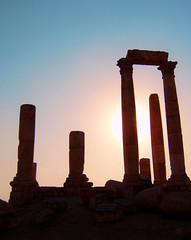 Roman Ruins of Jerash (Conor O'Brien Art) Tags: city pink blue light sunset shadow orange brown sun sunlight art history beautiful beauty sunshine silhouette rock stone architecture sunrise greek temple photography ancient ruins warm artist shine roman fine pillar columns ruin jordan obrien historical classical column pillars cob remains conor remain jerash rubble ionic antiquity romanruins grecoroman gerasa conorobrien antiochonthegoldenriver romanruinsofjerash