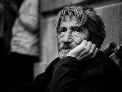 Secret Sorrow (Jochen-B) Tags: barcelona street portrait white man black monochrome sadness mono spain solitude tears loneliness sad candid streetphotography olympus tear sorrow zuiko 45mm omd em1 4518 microfourthirds