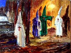 meeting of the elders (arthurrrr1) Tags: costumes people black art painting arthur dragon nazis cityscapes grand robins oil racism kkk klan klu klux