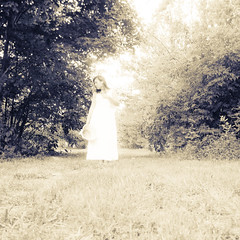 Soon I will only be your memory (Baka_onna) Tags: selfportrait square woods dress memory fading regret