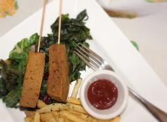 Curried Seitan Skewer Over Rainbow Chard (Vegan Feast Catering) Tags: vegan potatoes yum curry seitan chard