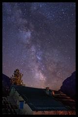 Aurent dans les étoiles (jeff_006) Tags: old roof light summer chimney sky house mountain tree stone wall night way stars landscape fire olympus f2 12mm milky zuiko em5