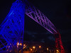 Aerial Lift Bridge in Duluth lit for 4th of July fireworks