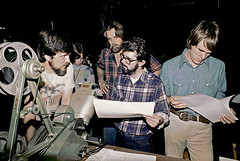 Richard Edlund, Rose Duignan, John Dykstra, George Lucas, and Joe Johnston consult together (Tom Simpson) Tags: film vintage movie starwars behindthescenes georgelucas joejohnston johndykstra richardedlund roseduignan