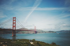 Golden Gate (✔Andrew Zhang) Tags: ocean sanfrancisco bridge blue red sky white green water clouds photography prime golden photo nikon gate sigma andrew goldengatebridge streaks zhang sigma35mmf14dghsmart