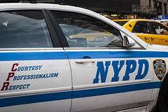 NYPD (wwward0) Tags: nyc blue white car automobile outdoor manhattan taxi police nypd sunny cc policecar cruiser wwward0
