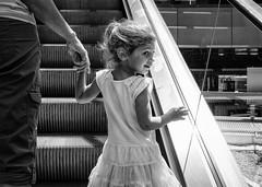 Going Up (noeltykay) Tags: bw fuji escalator fujifilm deanna fujifinepix julianna santamonicaplace silverefxpro2 fujix100s x100s