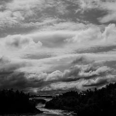 Road To Quebec City 001 (noahbw) Tags: summer vacation sky blackandwhite bw water monochrome clouds river square landscape blackwhite waterfall nikon explored d5000 noahbw