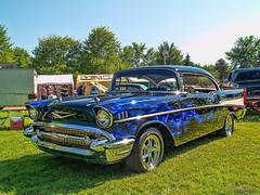 1957 Chevy Bel Air (kenmojr) Tags: auto show classic chevrolet car vintage antique flames newbrunswick chevy 1957 moncton vehicle centennialpark 2014 flamed atlanticnationals